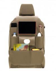 Stoel organizer luxe kunstleer met tablet houder beige